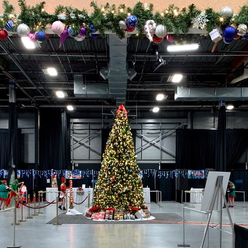 Decorated frame tree and garland in commercial space