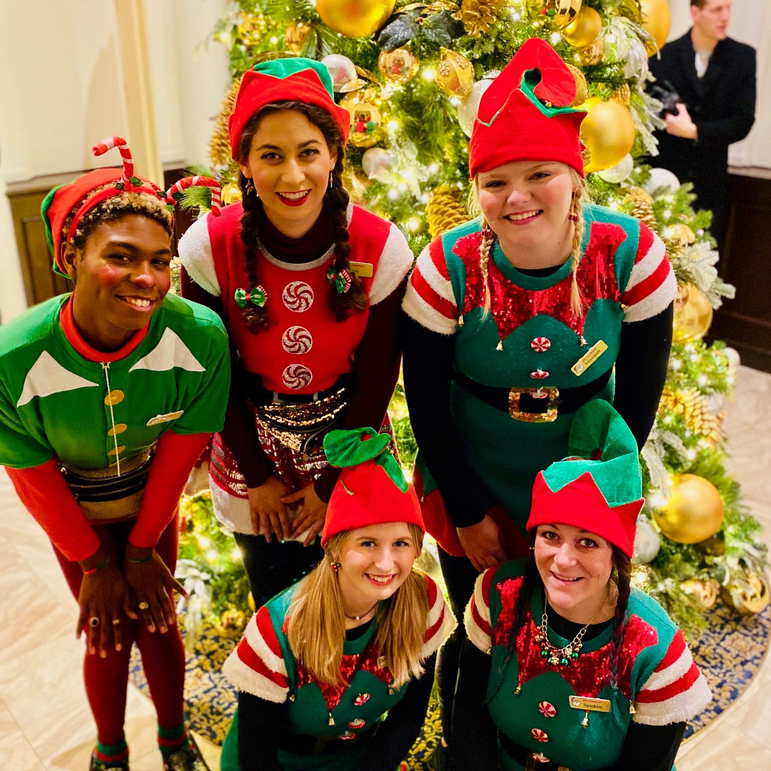 The Rent-A-Christmas Elf Squad in uniform