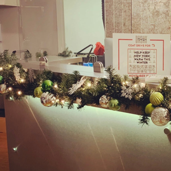 Decorated garland rental on commercial countertop