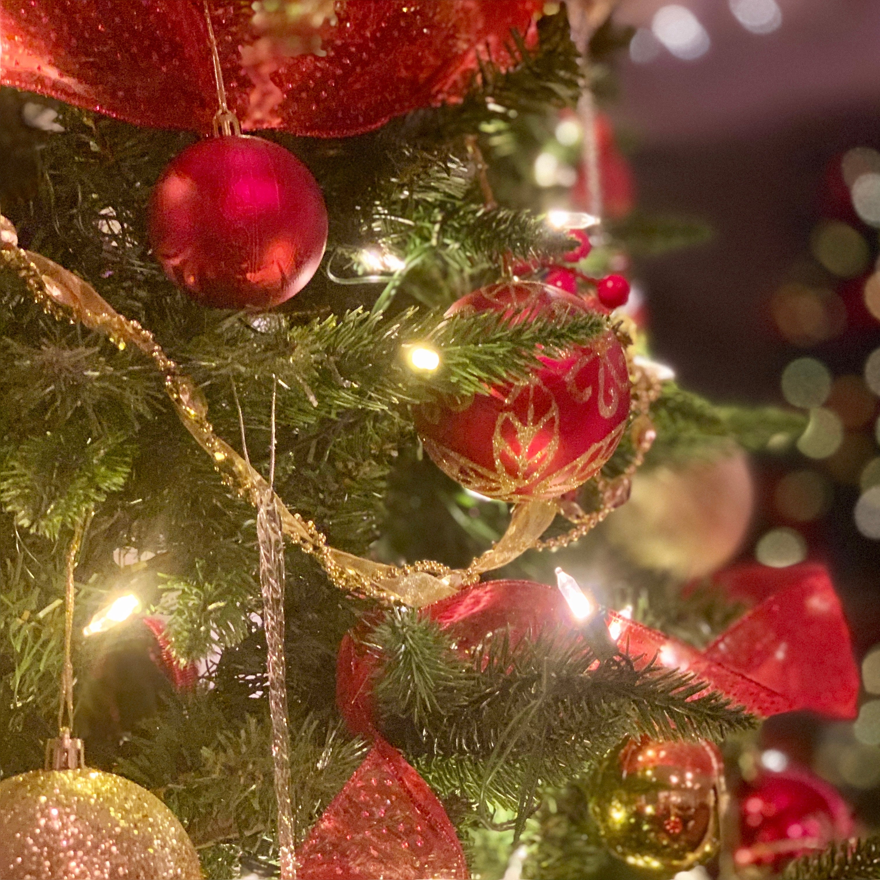 Close-up of decorated artificial Christmas tree