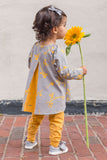 Pleated Swing Tunic in Goldenrod Floral