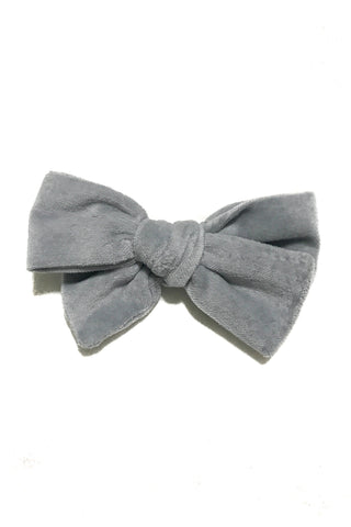 Knotted Bow in Gray Velveteen