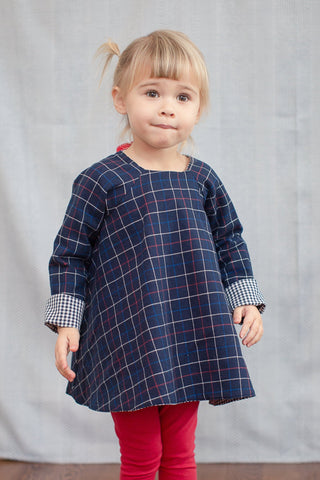 Reversible Swing Tunic in Navy Windowpane