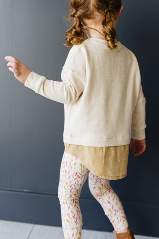 Drop Sleeve Sweatshirt in Flax
