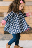 Reversible Swing Tunic in Navy Plaid