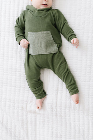 Shawl Collar Romper in Moss