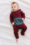 Shawl Collar Romper in Cranberry