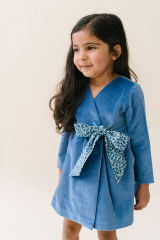 Wrap Dress in Blue Velveteen
