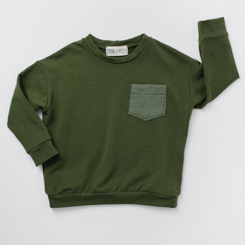 Drop Sleeve Sweatshirt in Moss