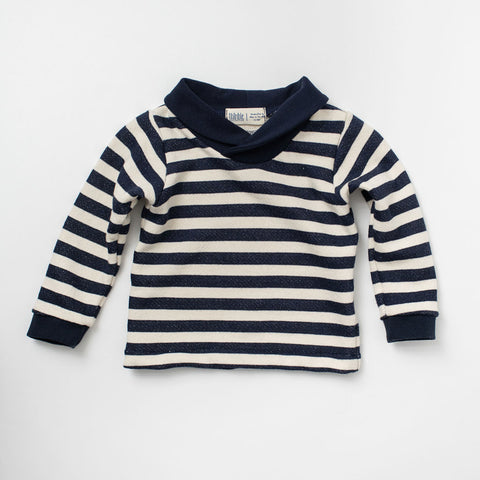 Shawl Collar Sweatshirt in Navy Stripe