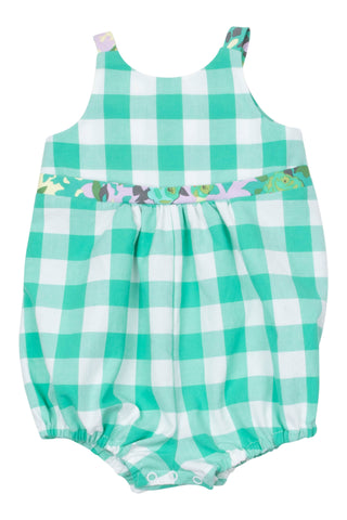 Knotted Romper in Seaglass Gingham - Thimble - Overall - 1