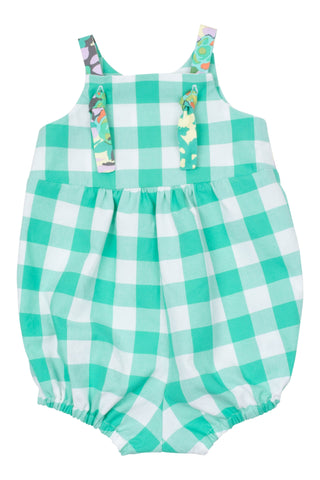 Knotted Romper in Seaglass Gingham - Thimble - Overall - 2
