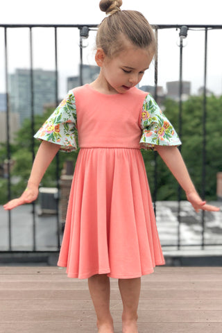 Twirl Dress in Sunset Garden
