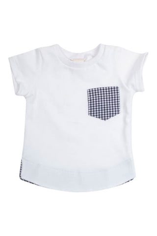 Pocket Tee in White Gingham