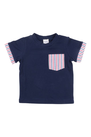 Cuffed Pocket Tee in Americana Seersucker