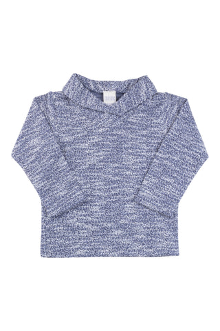Shawl Collar Sweatshirt in Marled Navy