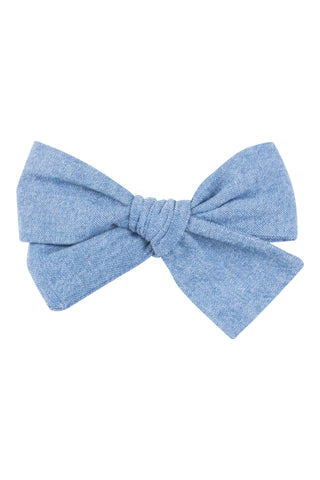 Knotted Bow in Light Chambray