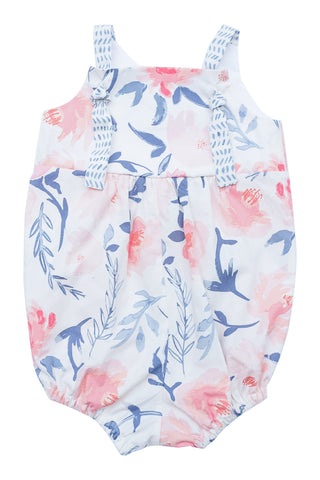 Knotted Romper in Watercolor Floral