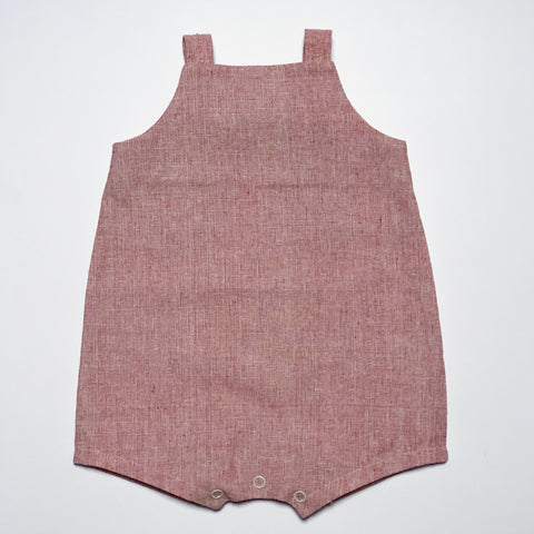 Knotted Shortall in Red Linen