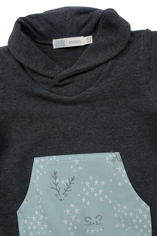 Shawl Collar Sweatshirt in Charcoal Critters
