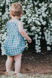 Knotted Romper in Aqua Gingham