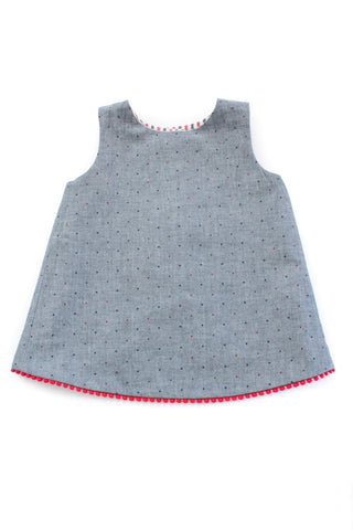 Reversible Tulip Tunic in Americana Seersucker