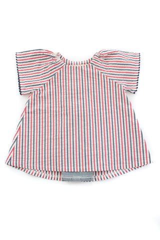 Pleated Swing Tunic in Americana Seersucker