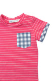 Cuffed Pocket Tee in Coral Stripe