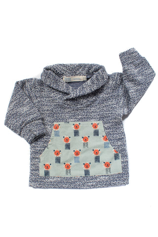 Shawl Collar Sweatshirt in Lions