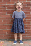 Twirl Dress in Navy Windowpane