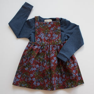 Pinafore Dress in Fall Bouquet