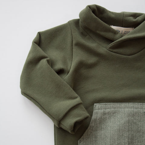 Shawl Collar Sweatshirt in Moss