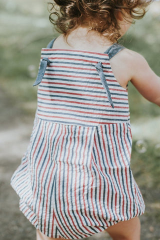 Knotted Romper in Americana Seersucker