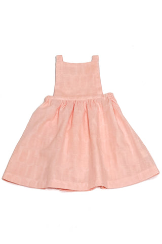 Pinafore Dress in Peach Double Gauze