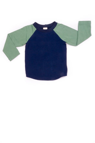 Bailey Baseball Tee in Navy and Soft Green - Thimble - Shirt - 1