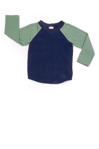 Bailey Baseball Tee in Navy and Soft Green - Thimble - Shirt - 2