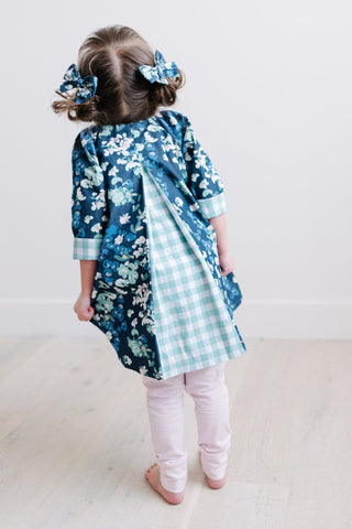 Pleated Swing Tunic in Denim Blooms