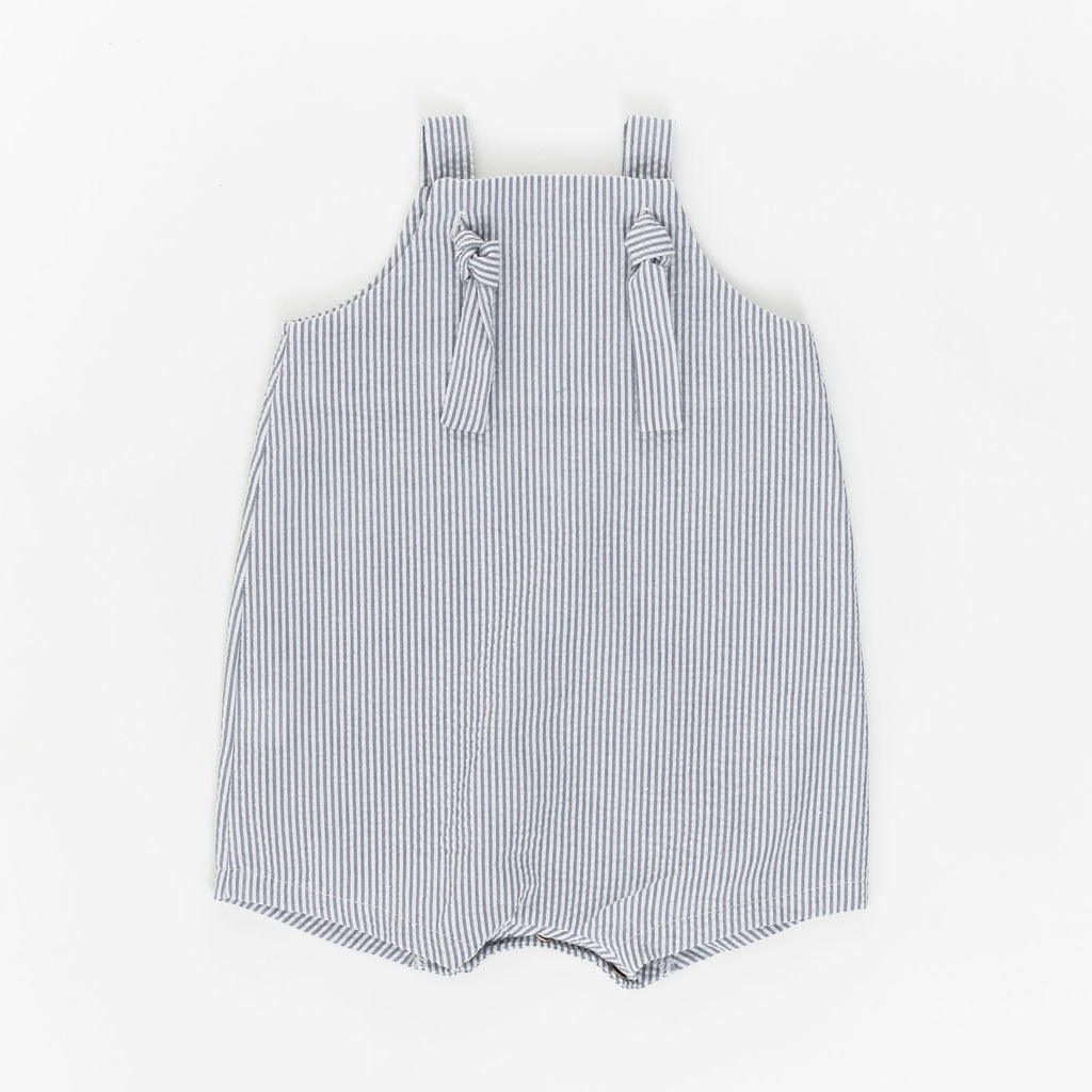 Knotted Shortall in Stone Seersucker