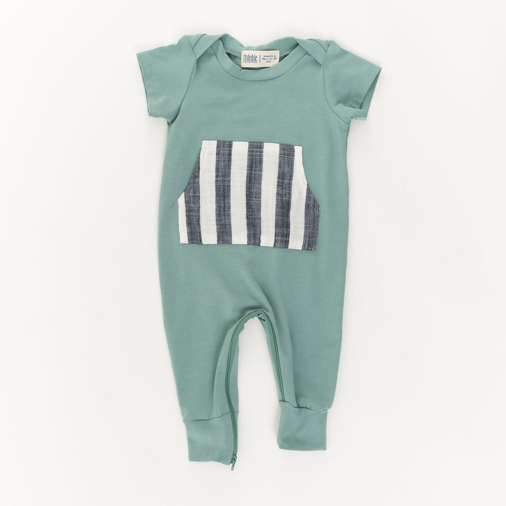 Zipper Romper in Pond Stripe