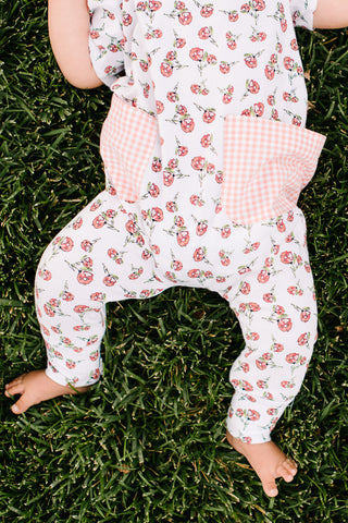 Everyday Romper in Peach Rosebuds
