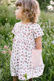 Playground Dress in Peach Rosebuds