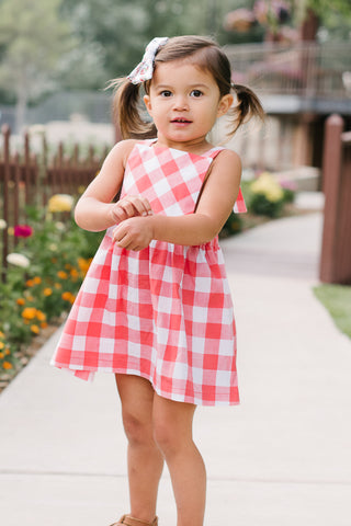 Pinafore Dress in Coral Gingham