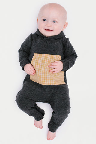 Shawl Collar Romper in Charcoal