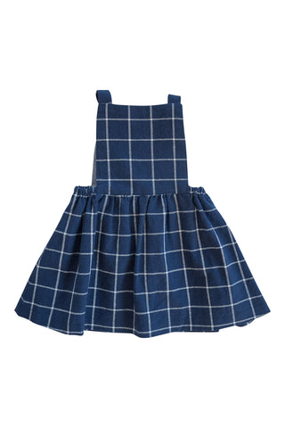 Pinafore Dress in Navy Windowpane