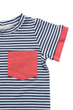 Cuffed Pocket Tee in Navy Stripe