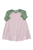 Baseball Dress in Rose Stripe