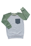 Raglan Pullover in Gravel Stripe
