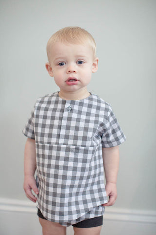 Summer Tunic in Gray Gingham