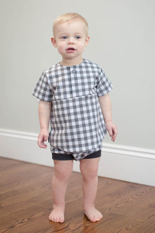 Bloomer Short in Gray Gingham