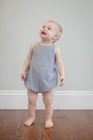 Knotted Romper in Gray Oxford